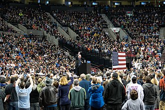 Political positions of Bernie Sanders - Bernie Sanders speaks at a rally in Portland, Oregon during the 2016 Presidential campaign.