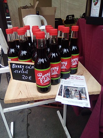 "Cola - Bottles of ""Berry cola"", a soft drink produced in Indre (France)"