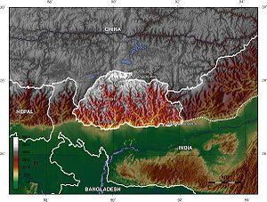 Geography of Bhutan - Topographic map of Bhutan