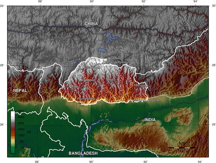 Mountains and valleys dominate the topography of Bhutan.