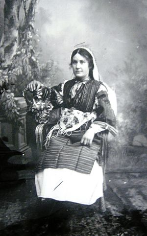 Smilevo - Woman from Bitola, dressed in traditional costume from Smilevo, photographed in the studio of the brothers Manaki in Bitola, between 1898-1912