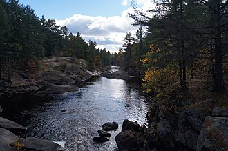 Canadian Shield - Typical landscape in a southern Ontario region with very few old growth trees, due to a history of logging and fires. Black River, Queen Elizabeth II Wildlands Provincial Park.