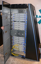 A cabinet from Blue Gene/L, ranked as the second fastest supercomputer in the world according to the 6/2008 TOP500 rankings. Blue Gene/L is a massively parallel processor.