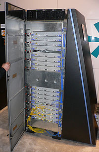 A BlueGene/L cabinet. IBM's Blue Gene/L is the fastest supercomputer in the world.