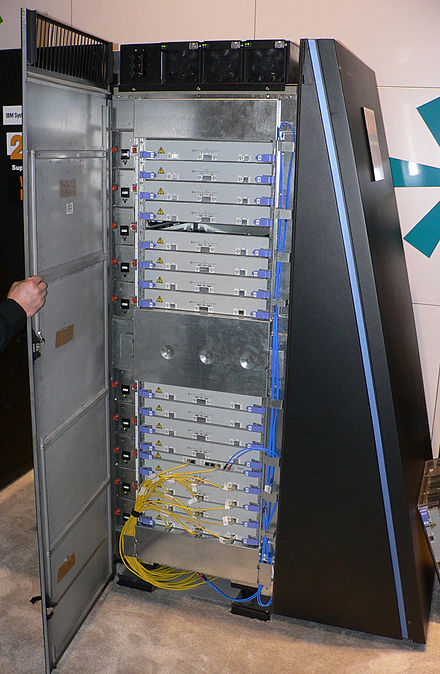 A cabinet of the massively parallel Blue Gene/L, showing the stacked blades, each holding many processors. BlueGeneL cabinet.jpg