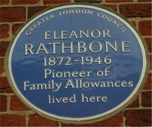 Eleanor Rathbone - Blue plaque on her house in Tufton Street, Westminster
