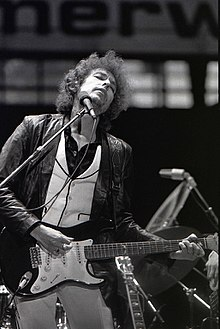 An image of Bob Dylan performing in Rotterdam, 1978