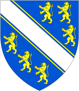 Humphrey de Bohun, 3rd Earl of Hereford - Arms of Bohun: Azure, a bend argent cotised or between six lions rampant of the last