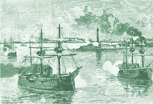 Bombardment of Alexandria - British ships shelling Alexandria.