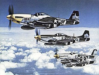Eighth Air Force - North American P-51 Mustangs of the 375th Fighter Squadron, 361st FG, summer 1944