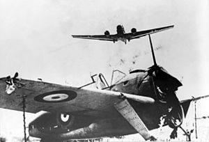 Brewster Buffalo wreck and Junkers Ju 52 on Crete 1941.jpg