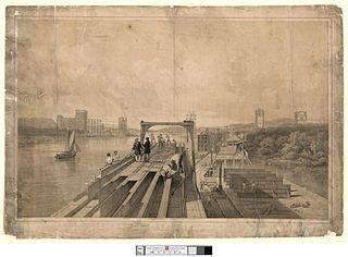Britannia tubular bridge over the Menai Straits taken during its construction in 1848