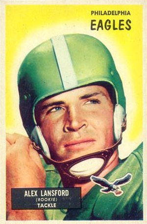 Buck Lansford - Lansford on a 1955 Bowman football card