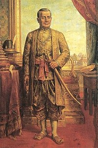 Portrait of King Rama I of Siam, holding a sword