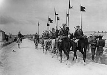 Black and white photo of mounted soldiers with middle eastern headwraps, carrying rifles, walking down a road away from the camera