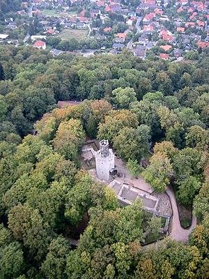 Salzgitter Hills - Burgruine of Burg Lichtenberg of Süden, im Hintergrund der Ort Lichtenberg