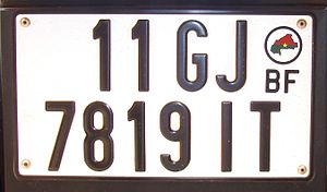 Vehicle registration plate - Burkina Faso passenger plate