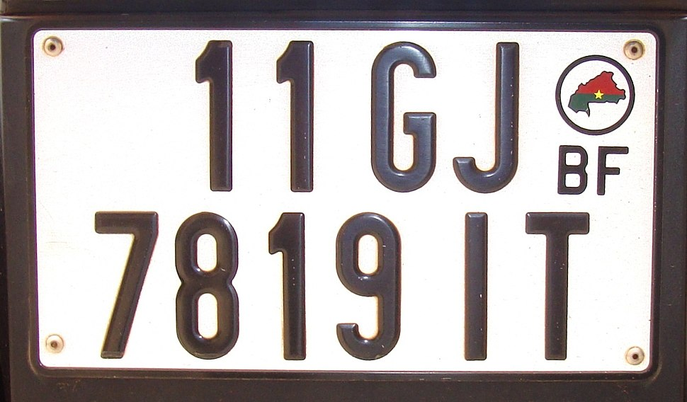 Burkina Faso passenger vehicle plate