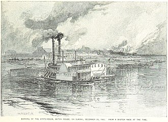 Old Louisiana State Capitol - The statehouse burns on 28 December 1862