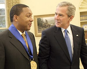 Wynton Marsalis - Marsalis receiving the National Medal of Arts from President George W. Bush in 2005