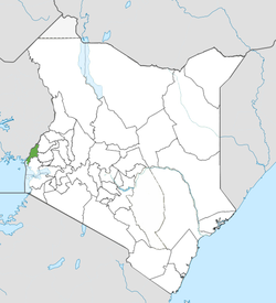 Location of Busia County (Green) in the far left of Kenya