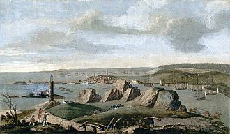 Siege of Louisbourg (1758) - View of Louisbourg when the city was besieged in 1758