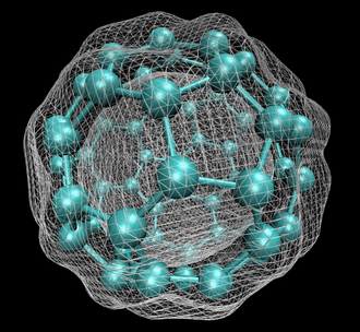 Density functional theory - C<sub>60</sub> with isosurface of ground-state electron density as calculated with DFT.