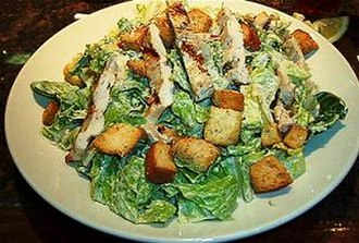 Caesar salad - One of the most common Caesar salad variations, shown here topped with grilled chicken