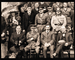 Cairo Conference (1921) - Seated: from right: Winston Churchill, Herbert Samuel Standing first row: from left: Gertrude Bell, Sir Sassoon Eskell, Field Marshal Edmund Allenby, Jafar Pasha al-Askari