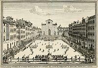Una representación del calcio florentino durante el Siglo XVII.
