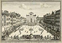 Una partita di calcio fiorentino in piazza Santa Croce nel 1688. Schieramento d'inizio