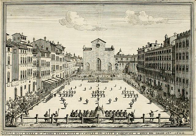 a 1688 illustration of calico fiorentino at Piazza Santa Croce in Florence, Italy - Calcio Fiorentino (Renaissance Soccer)