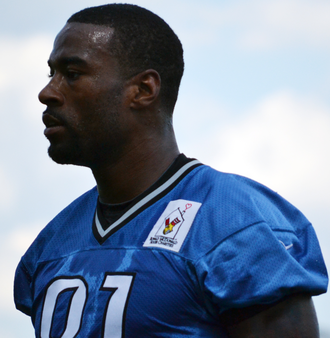 Calvin Johnson - Johnson at Detroit Lions training camp in 2012
