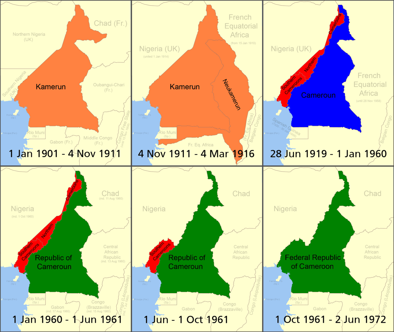 Cameroon Boundary Changes Through 1972