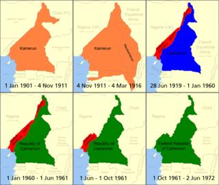 La construction de l'état Camerounais: ██Cameroun allemand ██Cameroun britannique ██Cameroun Français ██Republique du Cameroun