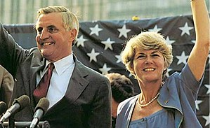 United States presidential election in Florida, 1984 - On the campaign trail, Walter Mondale and Vice Presidential candidate Geraldine Ferraro wave to supporters at a rally in Fort Lauderdale, Florida. April, 1984.