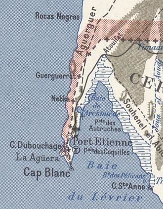 Ras Nouadhibou - 1958 map, showing what was then called Cap Blanc, divided between Spain and France