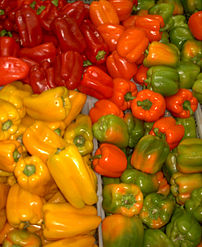 A variety of coloured Capsicum