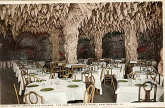 "Nightclub - ""The Cave"" in the basement of the Gruenwald (later Roosevelt) Hotel, New Orleans opened in 1912; said by some to be one of the first ""nightclubs"" in the United States"