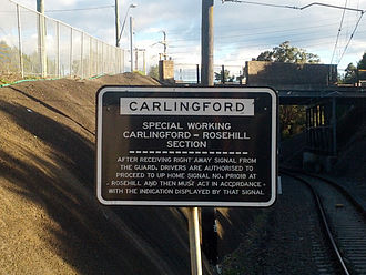 Carlingford railway line - Sign informing drivers about special working between Carlingford and Rosehill
