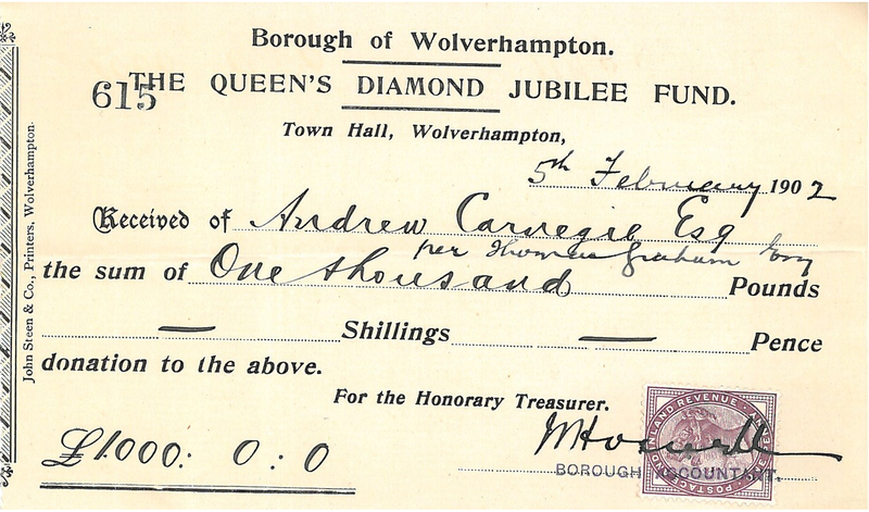 File:Carnegie receipt from Wolverhampton Council.png
