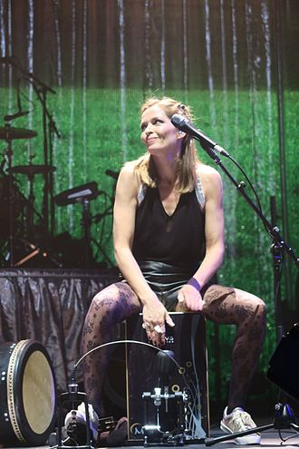 Caroline Corr - Caroline Corr performing part of the acoustic set of the White Light tour at London's 02 Arena on 23/01/2016. Caroline played the Cajon during this part of the set list.
