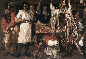 Early modern European cuisine - Butcher's shop, by Annibale Carracci, 1580.