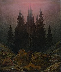 Caspar David Friedrich: Cross and cathedral in the mountains