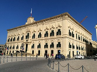 Maltese Baroque architecture - Auberge de Castille, designed by Andrea Belli in 1741–45