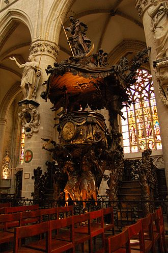 Cathedral of St. Michael and St. Gudula - Baroque pulpit by Hendrik Frans Verbruggen