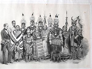 Francis White Cloud - George Catlin's 1844 illustration of Ioway in Europe, Francis White Cloud is front center right; Jeffrey Deroine is second from left.