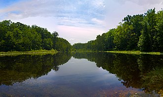 Waldorf, Maryland - A pond fed by the Wolf Den Branch in Cedarville State Forest.