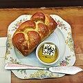 Challah bread, butter, honey (15887183428).jpg