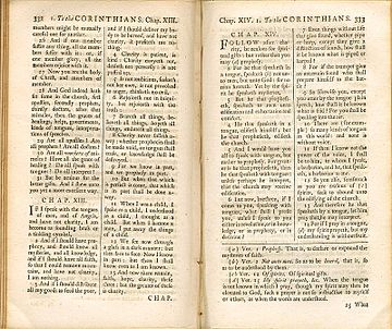 1 Corinthians, from the Douai Bible, 1749 Challoner Douai Bible (1749).jpg